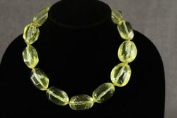 Vintage Costume Jewelry Bold Pale Yellow Lucite Chunky Bead Necklace 18-20