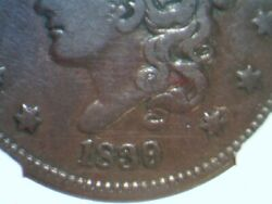 1839/6 Head Of 36 Coronet Large Cent Ngc Vg8 1839 Overdate 1836