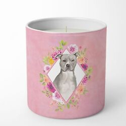 Blue Pit Bull Terrier Pink Flowers 10 oz Decorative Soy Candle CK4269CDL