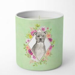 Blue Pit Bull Terrier Green Flowers 10 oz Decorative Soy Candle CK4429CDL