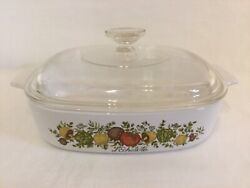 70's Rare Vintage Corning Ware Spice Of Life L'echalote A-8-b 6 With Pyrex Lid