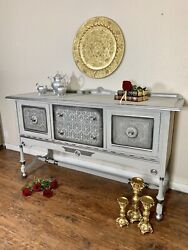 Antique/ Vintage Dining Room Buffet Dresser/ Gray And Silver