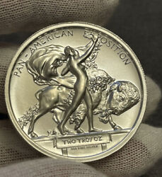 Pan-am Buffalo Medal Tribute 2 Oz Silver High Relief Round Intaglio Mint