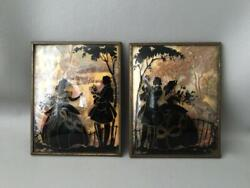 Vtg Silhouette Reverse Painting Convex Glass Courting Couple Lovers Pictures Set