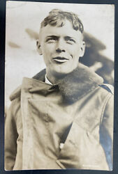 Mint Usa Real Picture Postcard Early Aviation Captain Charles A Lindbergh