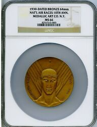 1930 Medal National Air Races 10th Anniv. Olympiad Of The Air Medal Ngc Ms 66