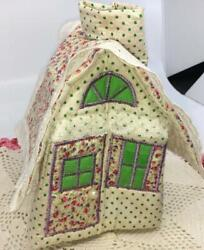 Vtg Quilted Tissue Kleenex Box Cover Cottage Farm House Quilted Fabric