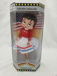 Betty Boop 1998 Collectible Fashion Doll New W/box Patriotic Usa United We Stand