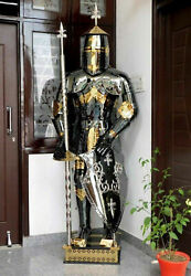 Medieval Full Body Suit Armour In Black Golden, Silver Finish Halloween Costume