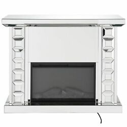 Wood And Glass Electric Fireplace With Touch Panel Or Remote Controller Silver