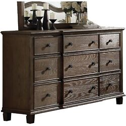 Nine Drawer Dresser With Round Knobs Side Metal Glide In Weathered Oak Finish