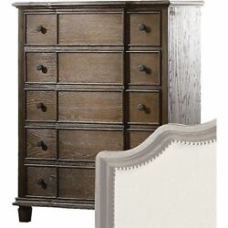 Five Drawer Chest With Round Knobs Side Metal Glide In Weathered Oak Finish