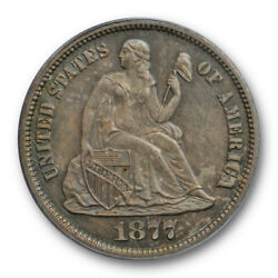 1877 Cc 10c Seated Liberty Dime Pcgs Ms 63 Uncirculated Carson City Mint