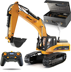 Full Metal Construction Excavator Rc Lights Remote Control Toy Carries 180 Lbs
