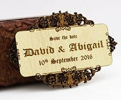Personalized Engraved Wood Magnets 10 Rustic Wedding Save The Date-wza
