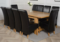 Duke Chunky Oak Extendable Dining Table W/ 6 8 Or 10 Montana Leather Chairs