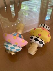 Mackenzie Childs Colorful Courtly Check Wine Bottle Stopper Topper Lot Of 2