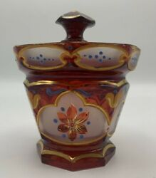 Bohemian Ruby Glass Lidded Bowl With Floral Enameled Decoration