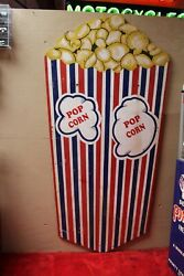 Large Size 8ft Popcorn Wooden Advertising Sign For Movie Theater