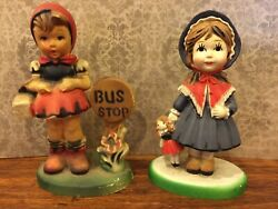 Lot of 2 Vintage Figurines Girl at Bus Stop Made In Macau Girl w Doll China