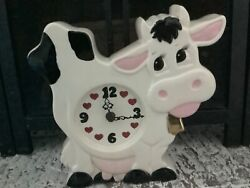 Pink Black Gold Dairy Cow Table Clock Vintage Collectible