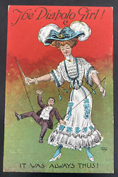 Mint Usa Picture Postcard Womens Suffrage Voting The Diabolo Girl