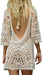Women's Bathing Suit Cover Up Crochet Lace Bikini Swimsuit Dress One Size M $17.85