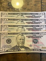 2009 50 Fifty Dollar Star Note Consecutive Sequential Rare 4 Notes