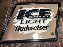 New 1994 Budweiser Ice Draft Light Mirror Beer Sign Slanted Game Room Man Cave