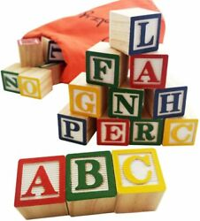 Skoolzy Abc Wooden Blocks For Toddlers 30 Wood Alphabet Montessori Stacking Lett