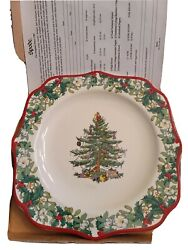 Spode Christmas Tree 9 Square Plate With Red Rim 2008 With Box