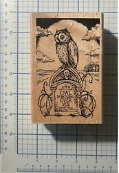 Stampendous Tombstone Owl Rubber Stamp P241 Wood Scary Owl Be Watching New Lowsh