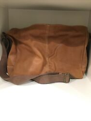 Fossil Leather Brown Messenger Laptop Bag Mens Womens $55.00
