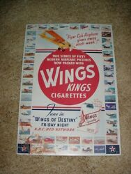 Wings Kings Cigarettes Metal Sign Airplane Pictures Advertisement Piper Cub
