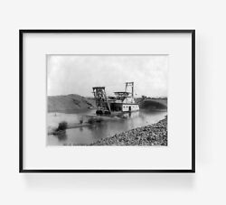 1908 Photo Large dredge being used in gold dredging operation on Yuba River ? $14.99