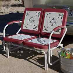 Red 2 Person Retro Metal Patio Glider Bench Outdoor Home Seating Furniture