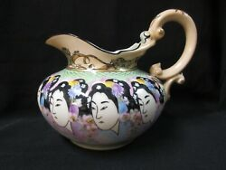 Hand Painted Limoge China Pitcher With Repeating Geisha Faces And Ornate Top