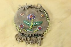 Vintage Native American Indian Medicine Bag Tobacco Pouch With Beadwork