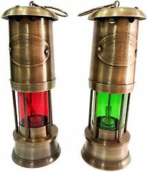 Nautical Antique Brass 2 Miner Ship Lamp Maritime Decor Items Red Or Green 11
