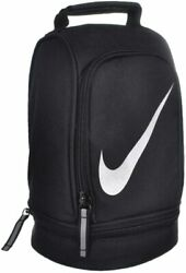 New Nike Kids Lunch Tote School Cooler Dome Black Zipper Work Swoosh $19.99