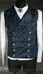 Dracula Clothing Sapphire Double Buttoned Steampunk Goth Victorian Vest 6-10-bc