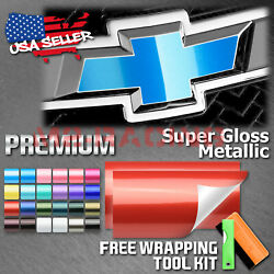 Super Gloss Metallic Vinyl Wrap For Chevy Emblem Overlay Sticker Decal Sheet Diy