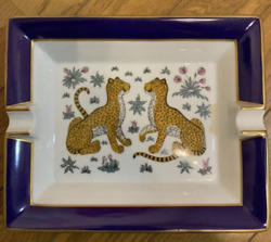 Hermes Authentic Leopard Pattern Ashtray White X Blue Tray Rare Vintage