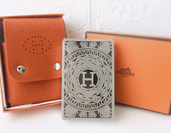 New Hermes Playing Card Case + Cards Accessories Leather Orange Rare Unused