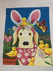 Neelepoint Canvas Love More Happy Easter Puppy
