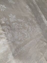 Nappe Lin And Soie Ancienne Large Antique Victorian Linnen Silk Fabric Tablecloth