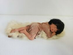 Ceramic Native American Sleeping Girl Figurine Real Leather Dress And Fur Bed