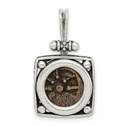 Sterling Silver And Bronze Antiqued Widows Mite Coin Pendant