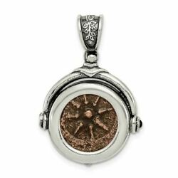 Sterling Silver And Bronze Antiqued Widows Mite Coin Pendant Qac100
