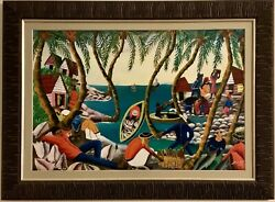 Wilmino Domond Early Masterpiece Vintage Haitian Painting 1967 Harbor